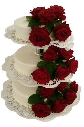 Rote Torten Romantische Hochzeitstorte Mit Roten Rosen