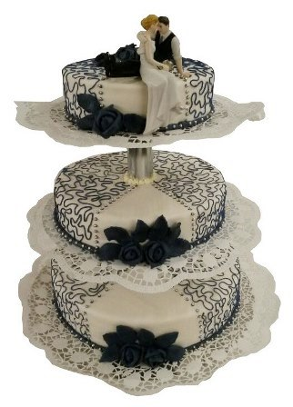 Blaue Torten Aufwandig Verzierte Dunkelblaue Spitzentorte