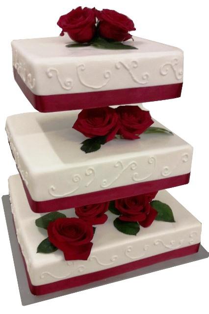 Klassische Hochzeitstorten Eckige Torte Mit Rosen