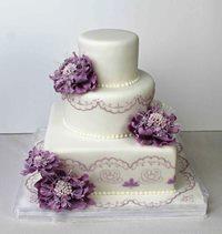 lila fantasieblumen torte artikelnummer th50 elegante dreistöckige ...