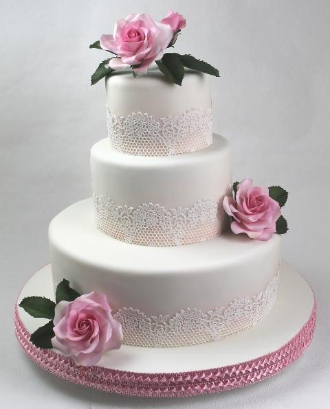 Rosa Pinkfarbene Tortenkunst Rosa Weisse Zuckerspitzen Torte