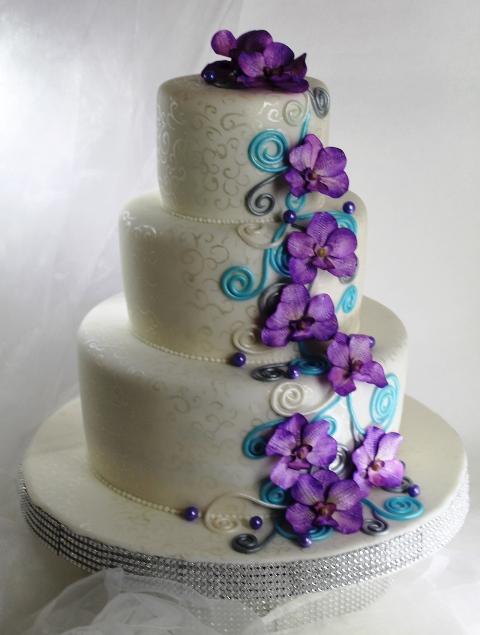Lila Fliederfarbene Tortenkunst Moderne Hochzeitstorte In Lila