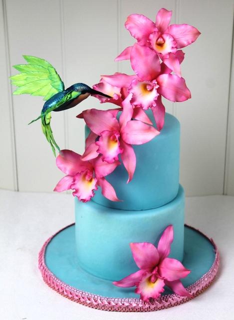 Blaue Turkisfarbene Tortenkunst Kolibri Hochzeitstorte In Turkis
