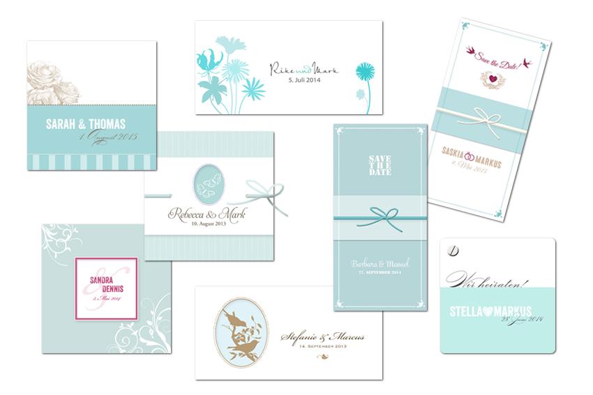 Individuelle Papeterie Hochzeitskarten In Turkis Und Petrol